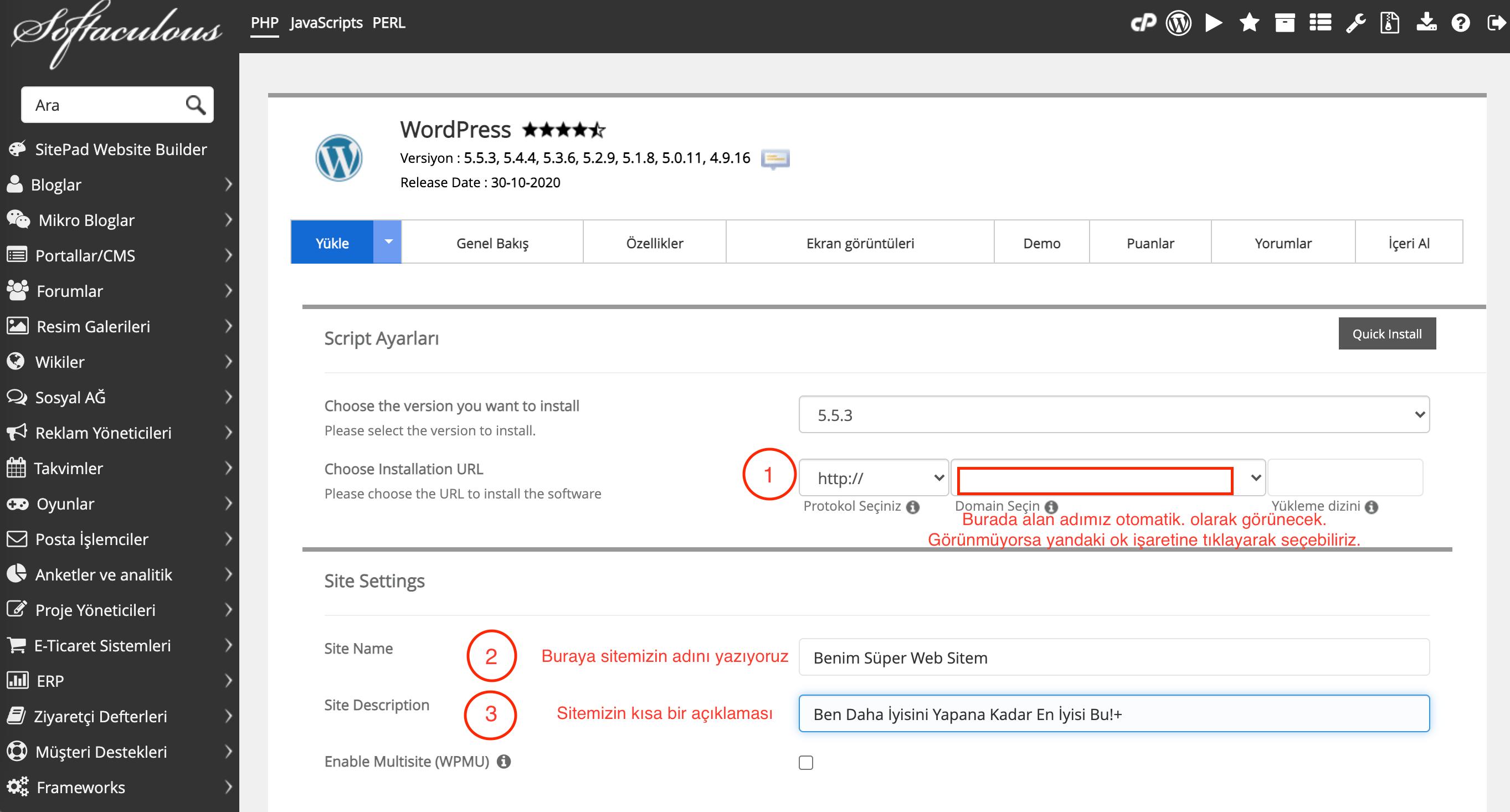 Cpanel platformunda Softaculous ile otomatik WordPress Kurulumu nasıl yapılır resimli anlatım