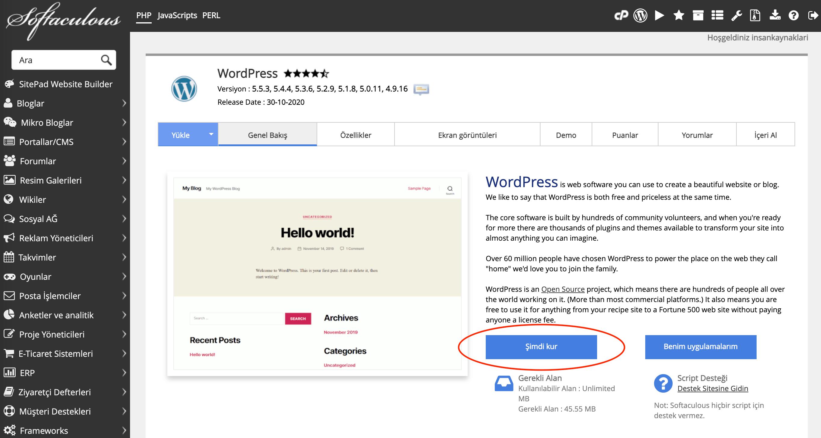 Softaculous Otomatik WordPress Yükleme Asistanı ile WordPress Kurulumu