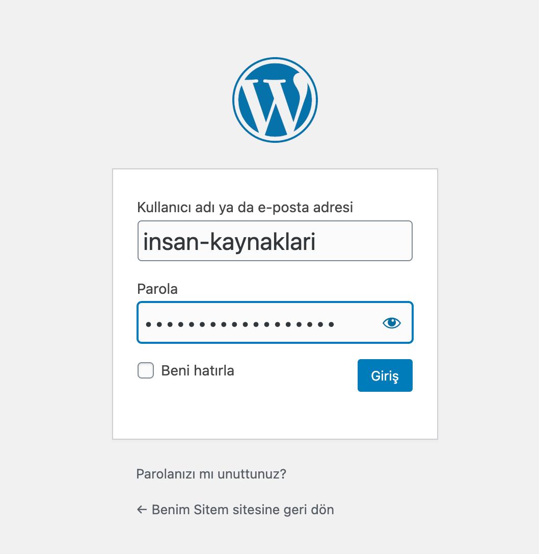 Wordpress Elle kurulum arka yönetim ofisi giriş sayfası