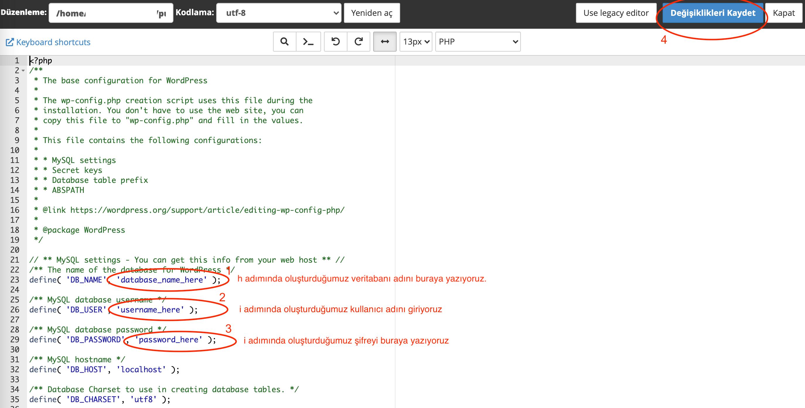 Wordpress wp-config.php dosyası nasıl düzenlenir?